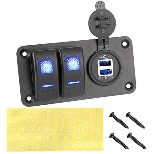 LHaoFY Accesorios para interruptor de automóviles Voltímetro digital impermeable Doble USB puerto USB 12V Combinación de automóvil Coche Marino LED Mocker Switch Panel (Color : C Blue)