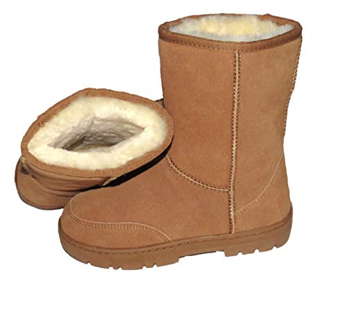 SUPER s6x Lammfell Stiefel Halbschaft Damen Stiefel Australisches Lammfell Lammfell Boots braun Cognac mit beigen Lammfell (39)