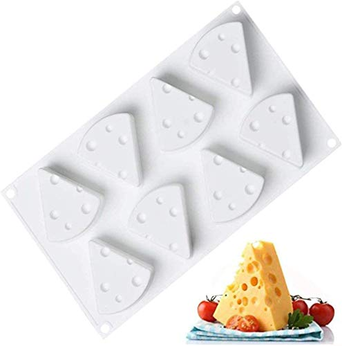 3D Cartoon Cheese Mold 8 Holes Non Stick Silicone, Home Baking Tool, 3D Cheese Shape Silicone Mousse Mold for Baking Cake Candy Dessert Pastry Chocolate Mold (1PCS)