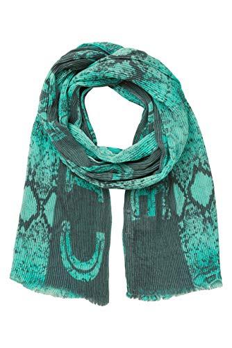 SOCCX Damen Plissee-Tuch mit Snake Print