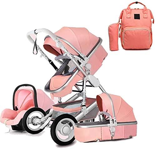 YQL Cochecitos y sillas de paseo desde el nacimiento, sistema de viaje 3 en 1 Cochecito con mochila para pañales, alta paisaje, antigolpes, para bebé, hacia atrás o hacia adelante (color: rojo)