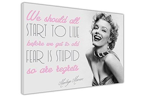 CANVAS IT UP Marilyn Monroe Live Zitat Wall Art Prints auf Leinwand Bilder Raum Décor Hollywood Fotos schwarz Freitag