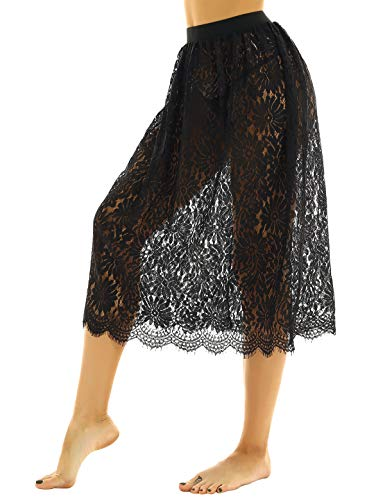 YiZYiF Womens Lace Half Slip Dress A-line Extenders Midi Skirt Vintage...