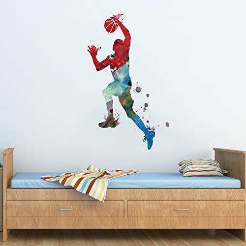 decalmile Pegatinas de Pared Acuarela Deportivos Vinilos Deportes Basketball Adhesivos Pared Habitación Niños Dormitorio Habitación de Juegos