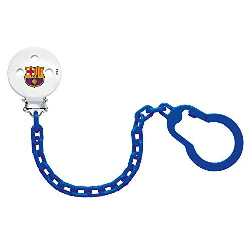 NUK 181749.5, Cadena Sujeta Chupete del Barça para Bebé, Plástico, con Clip Metálico, Color Azul