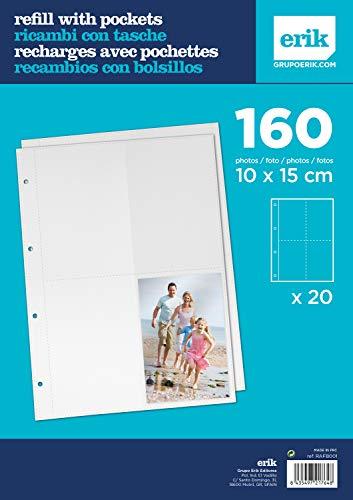 Grupo Erik RAFB001 Recambio Álbum de Fotos de 20 páginas de 8 Bolsillos 4 por Cada Lado para Fotos de 10 x 15 cm, Transparente