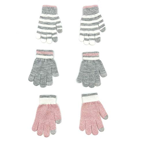 accsa 3 Pairs Kids Soft Stretch Magic Gloves Boys Girls Touch Screen Winter Gloves Set, Pink