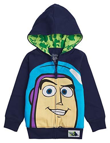 Disney Toy Story Big Face Zip-Up Hoodies -Buzz Lightyear, Sheriff Woody - Boys (Buzz Navy, 5/6)