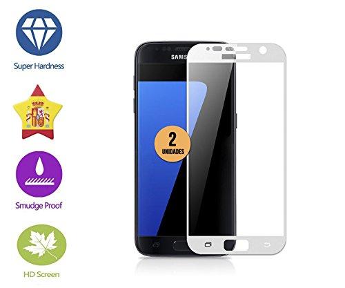 case & glass 2 Unidades DE Protectores DE Pantalla Premium 3D Cristal Vidrio Templado 9H para Samsung Galaxy S7 Blanco Cobertura Completa