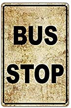 TEcell Bus Stop No Car Parking Public Transportation Vintage Funny Metal Signs Metal Tin Wall Sign Plaque Retro Wall Art 8x12 Gifts Sign