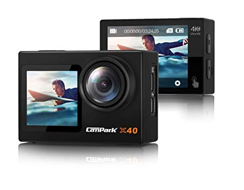 【2021 Newest】 Campark X40 Action Camera 4K Dual Screen with EIS Touchscreen Remote Control WiFi Waterproof 40M Vlog Camera 20MP with 2x1350mAh Batteries and Accessories Kit