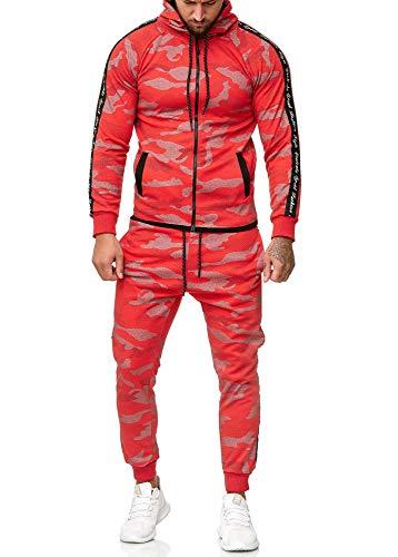 OneRedox Herren Jogginganzug Sportanzug Modell 1011 Rot XXXL