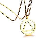 Yiffshunl Collar Collar Alcohólicos Anónimos AA Joyería Servicio de Salvamento Sobriedad Círculo y triángulo Símbolo Encanto Collar de Acero Inoxidable Regalo para Mujeres Hombres Regalo