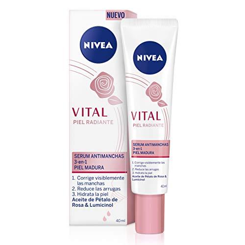NIVEA VITAL Piel Radiante Sérum Antimanchas (1 x 40 ml), sérum facial antiarrugas, antimanchas e hidratante, sérum antiedad 3 en 1 para la piel madura