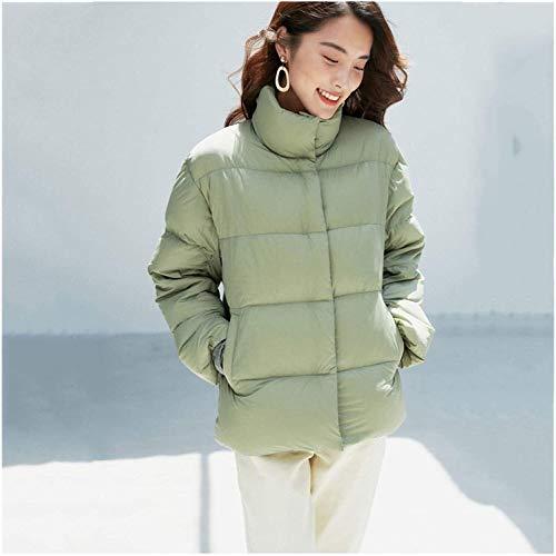 SDGDFGD Chaqueta Plumifero Chaqueta para Mujer Invierno Casual Abrigo Coloque el Collar Corto de Soporte Corto Paquete para Caminar Viajar Caminando Tamaño: M