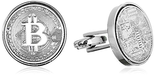 Bitcoin Coin Cufflinks for Men Birthday Gifts for Men Who Have Everything Bitcoin Jewelry Bitcoin Gift Techy Gift Silver Cufflinks