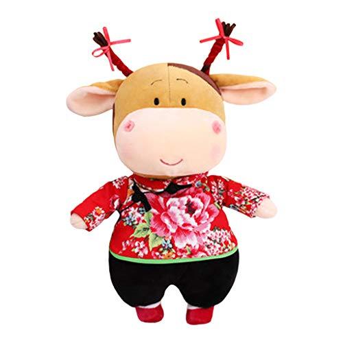 2021 Año Nuevo Chino Zodíaco Zodíaco Año Mascota Ganado Felpa Juguetes, Muñeco de Vaca Roja,...