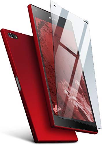 MoEx Protezione a 360 Gradi a 360° [Custodia + Vetro] Compatibile con Sony Xperia Z5 Compact | Copertura Cellulare Sottile in Rosso incl. Pellicola Protettiva cristallina in Vetro temperato