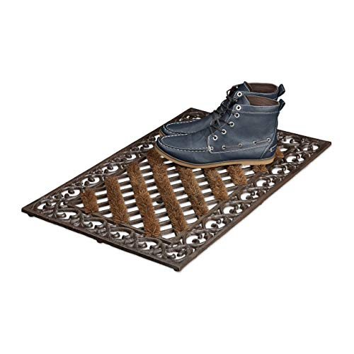 Relaxdays Fußabtreter Gusseisen mit Bürsten rechteckig HBT ca. 4 x 72 x 46 cm Fußabstreifer im Jugendstil Schuhabstreifer passend zum Landhausstil aus robustem Metall mit Anti-Rutsch-Füßen, bronze