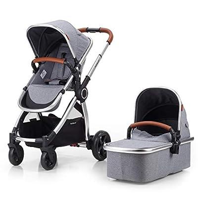 Mompush Full-Size Standard Stroller, One-Step Fold, Full Size Front or Rear Facing Toddler Seat, X-Large Easy-Access Basket, Sleek & Versatile (Silver) from mompush
