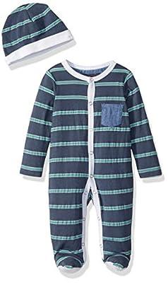 7 For All Mankind Baby Boys 2 Piece Set, Stripe Footie Steel Blue Stripe, 0-3 Months