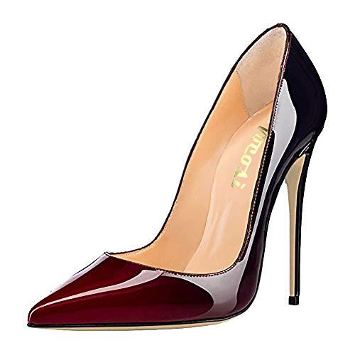 COLETER hecho a mano para mujer, zapatos de tacón alto, zapatos de tacón alto, para mujer, vestido de fiesta, color negro vino, 10 cm, 6,5 Reino Unido