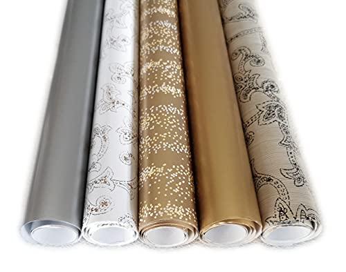 Edles Hochzeits Geschenkpapier Set in Gold Silber Ornamenten und Glitter Punkte - 5 Rollen je 2m x 0,70m Geschenkverpackung für Hochzeiten, Geburtstage, Xmas