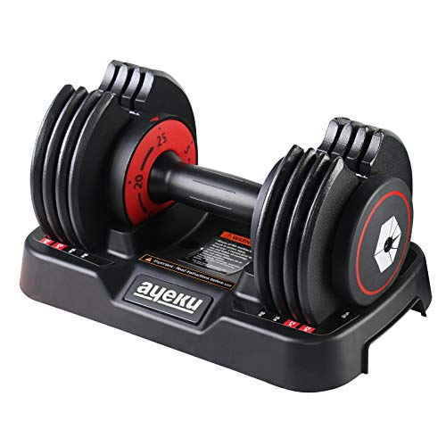 AyeKu Adjustable DumbbellsUnipack Adjustable Dumbbell Set 25lb Fast Weight Adjust by Turning Around Handle bar When You Hear a Click Convenient core Body Workout Fitness at Home Red Single