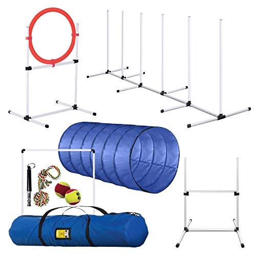 Dog Agility Training Equipment, Complete Set, Dog Tunnel, Jump, Hurdle, Hoop, Weave Poles Dog...