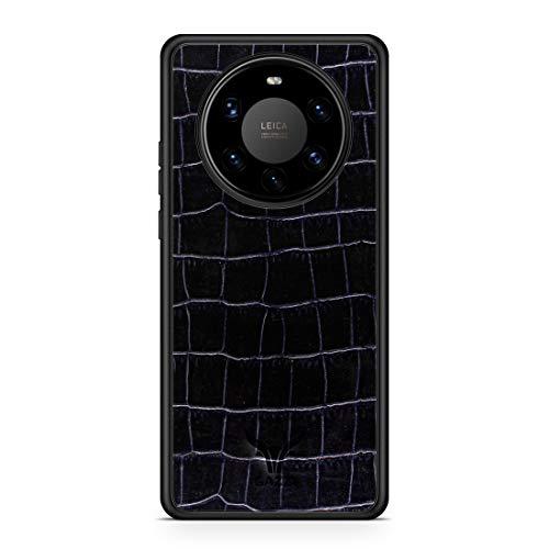 GAZZI Lederhülle für Huawei Mate 40 PRO Hülle Hülle Schale Backcover Handyhülle Schutzhülle Echt Leder, R&umschutz, Flexible Schale (Kroko Blau)