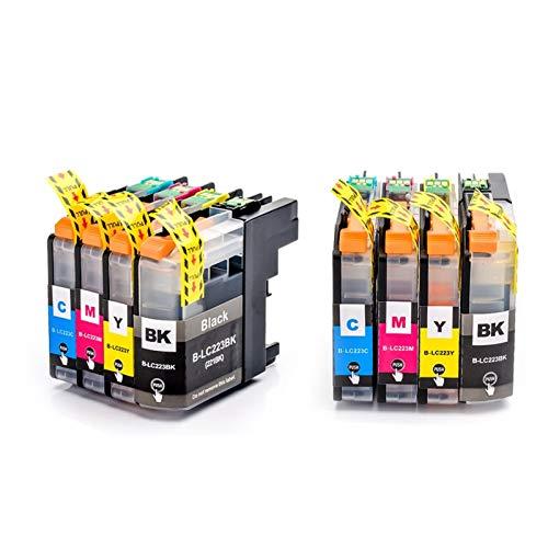 ZIJ 12pcs LC223 LC221 Cartucho de Tinta de Impresora Compatible for Brother MFC-J4420DW / J4620DW / J4625DWJ480DW / J680DW / J880DW (Color : 2 Set 8pcs)