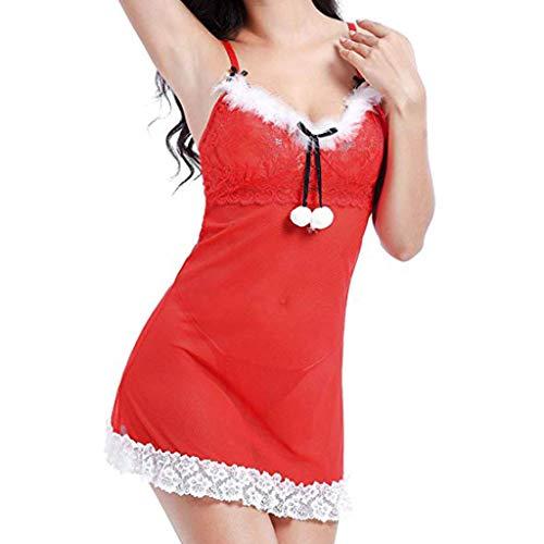 FELZ Picardias Sexy Mujer Eroticas Conjunto de Lencería Navideña para Mujer Santa Babydoll con Lazo Rojo de...