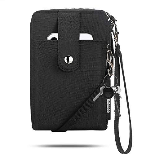 Vemingo Portadocumentos Viaje De Cuello con RFID para familias, Porta Documentos de 3 Pasaportes y Organizador para Tarjetas de identificación, Tarjetas de crédito, boletos (Negro xb-066)