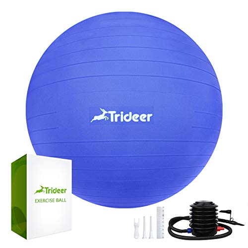 Trideer Exercise Ball (45-85cm) Extra Thick Yoga Ball Chair, Heavy Duty Stability Ball Supports 2200lbs, Birthing Ball with Quick Pump (Office & Home & Gym)
