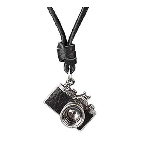 AdorabFruit Présent Pendentif Enfriar los Hombres de diseño Creativo de la Roca del Encanto del Punk Negro Cámara Brown Collar Colgante (Metal Color : Black)