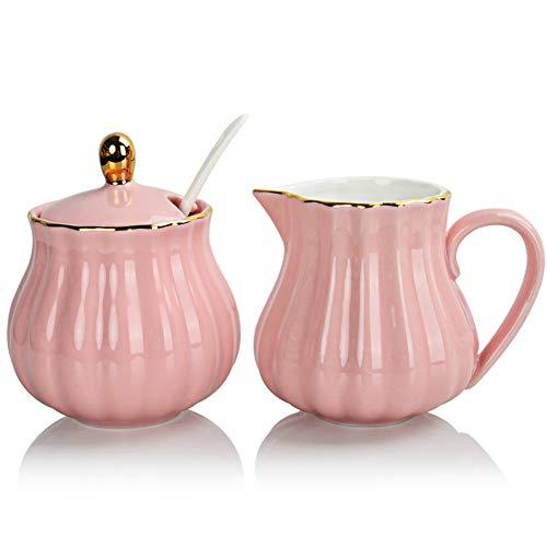 SWEEJAR Royal - Juego de 3 piezas de cerámica para azúcar y crema, jarra para crema, azucarero, juego de azúcar con tapa y cuchara, juego para servir café, regalo de boda...