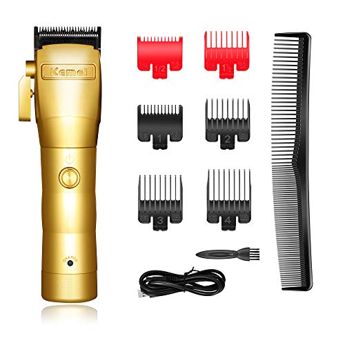 Kemei Professional Mens Hair Clippers Hair Trimmer for Men Cordless Grooming Kit Kemei 2850 for Barbers and Stylists USB Rechargeable