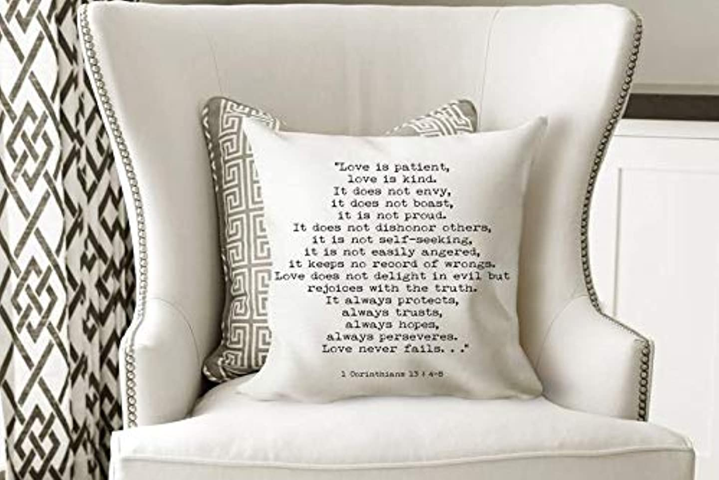 1 Corinthians 13 decorative pillow - scripture quote pillow cover with insert, Bible Verse cushion cover, sofa pillow for bedroom decor