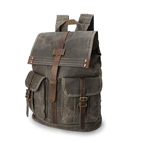 Wind Took Rucksack Daypack aus Leder Rucksäcke Vintage Retro Tagesrucksack für Uni Büro Alltag mit Laptopfach Wasserdicht 15,6 Zoll