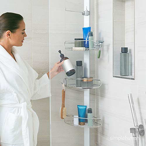 simplehuman Tension Pole Shower Caddy, Stainless Steel and Anodized Aluminum, Large
