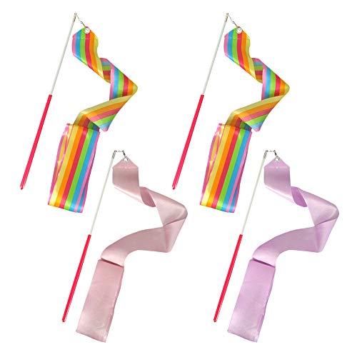 FYSL 4 Piezas 2 metros cintas de danza Gimnasias Rítmicas Intenso Cinta, Baton Twirling Wands on Sticks for Kids Artistic Dancing