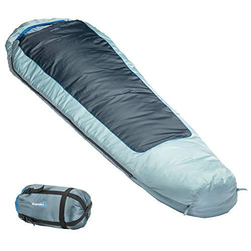 skandika Schlafsack Nevada | Mumienschlafsack | Sommerschlafsack | bis -10° C | 230 x 80 cm | koppelbar | mit Reißverschluss-Sperre | RV rechts