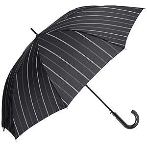 [ムーンバット] GENTS エクセルジェンツ メンズ 紳士 雨傘 長傘 ストライプ プリント ジャンプ ブラック 日本 親骨の長さ:約65㎝ 全長:約88㎝ 手元:約16.5㎝ (FREE サイズ)
