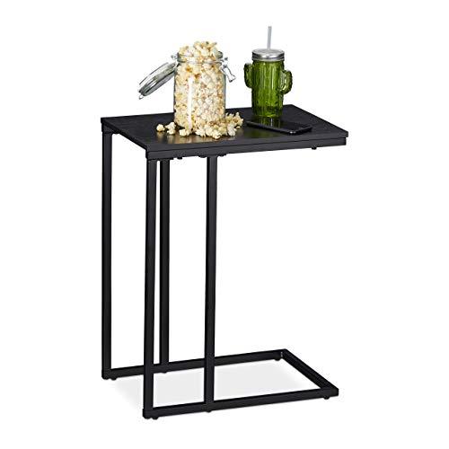 Relaxdays Bijzettafel, hoekige zijtafel in C-vorm, voor bank & bed, metaal & hout, h x b x d: 59,5 x 30 x 45 cm, zwart, metaal
