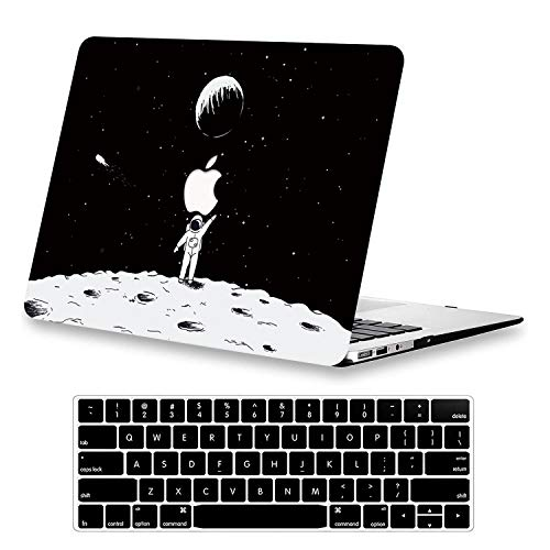 KEROM MacBook Pro 13 inch Case 2015 2014 2013 2012 Release A1425/A1502, Hard Plastic Shell Case with Keyboard Cover, Slim Pattern Protective Case for Old Version MacBook Pro Retina 13, Moon Landing