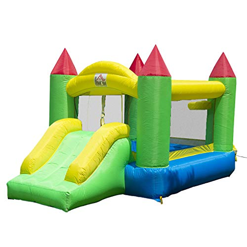 HOMCOM Kids Bouncy Castle Inflatable Bouncer Bounce House and Slide Inflatable Jumper with Airflow Fan