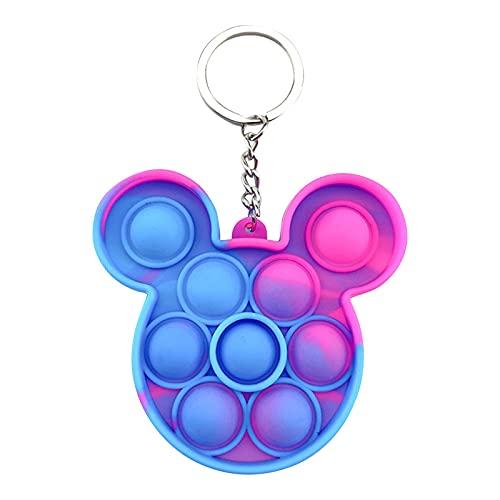 JIJK Juguete antiestrés Pop Its Squeeze, mini juguete sensorial de burbujas, llavero de silicona para bolso de escuela, regalo para niños y niñas