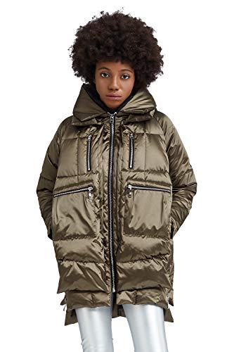 Orolay Women's Thickened Down Jacket Hooded ArmyGreen L