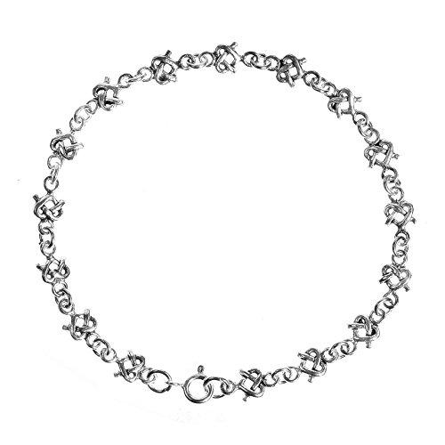 AeraVida Celtic Knot Infinity Heart .925 Sterling Silver Link Bracelet
