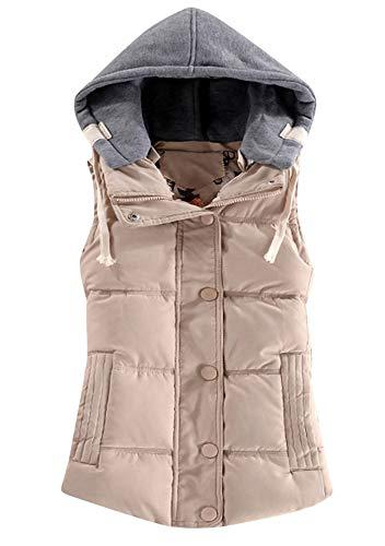 ZICUE Women's Packable Lightweight Vest Outdoor Sleeveless Puffer Jackets Beige L